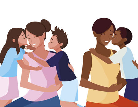 interracial mothers with little kids characters vector illustration design Illustration