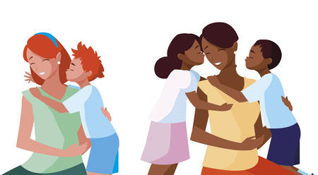 interracial mothers with little kids characters vector illustration design 矢量图像