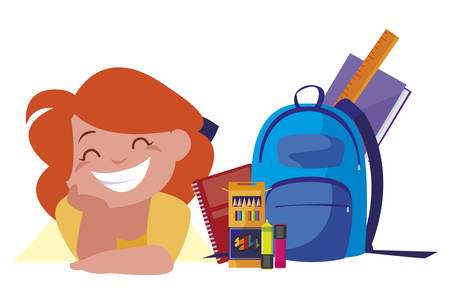 happy little schoolgirl with schoolbag and supplies vector illustration design