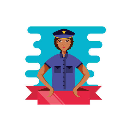 police officer female with ribbon avatar character vector illustration design