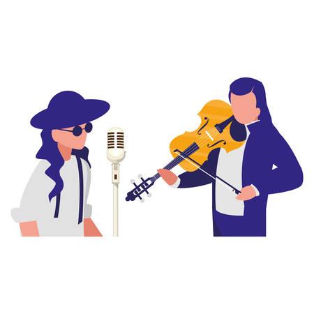 Sänger und Musiker paar Charaktere Vector Illustration Design