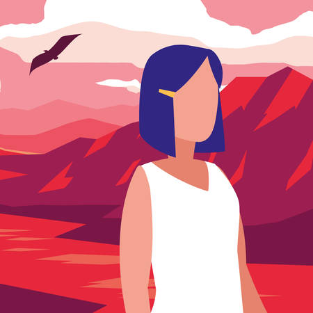 young woman in desert landscape dry scene vector illustration design 写真素材 - 120731458