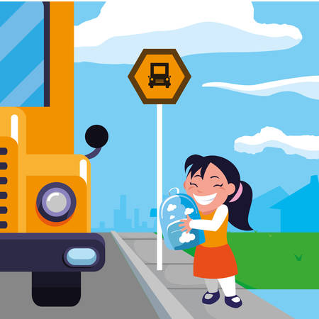 happy little schoolgirl with schoolbag in the bus stop vector illustration design Фото со стока - 120760943