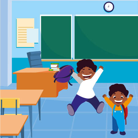 happy little black schoolboys in the classroom vector illustration design