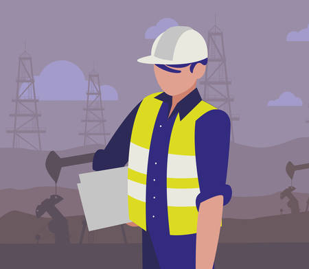 oil industry worker avatar character vector illustration design