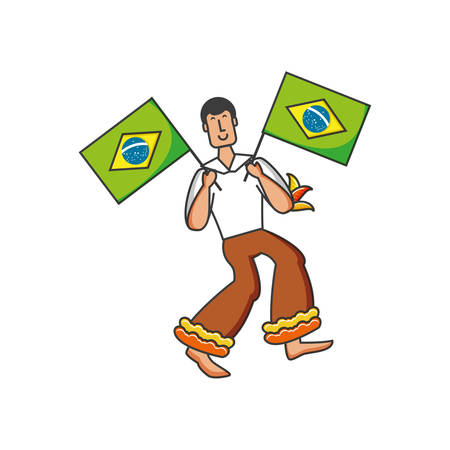 man with flag brazilian vector illustration design