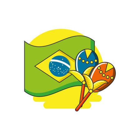flag of brazil with maracas instrument vector illustration design