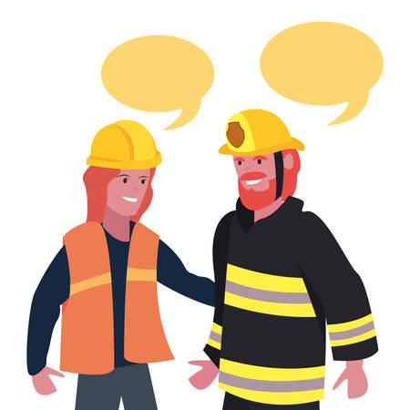 female builder and fireman labour day vector illustration