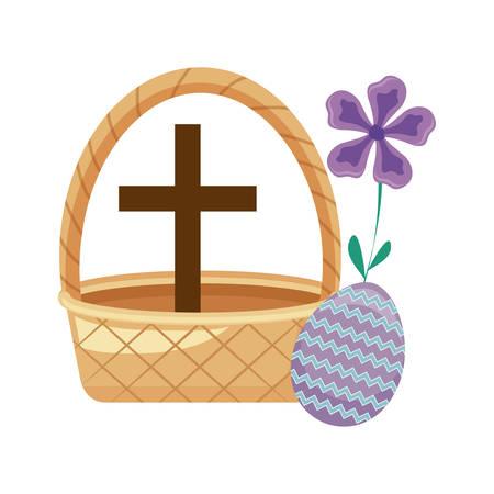 cross catholic in basket wicker with egg easter vector illustration design Illustration