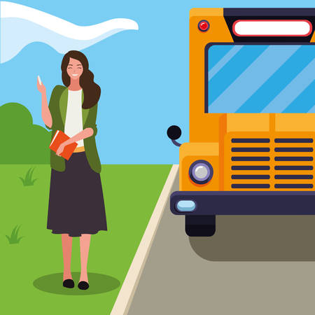 female teacher in bus stop vector illustration design Ilustracja