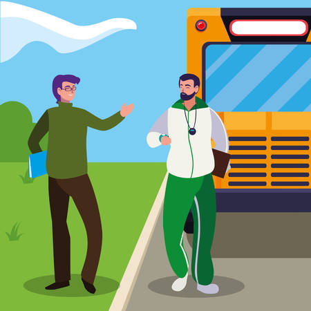 teachers classic and sports in stop bus vector illustration design Ilustracja