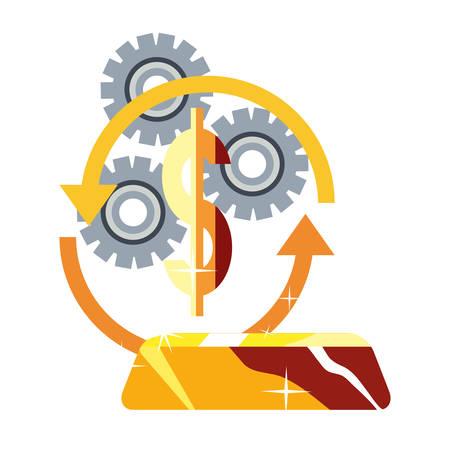 dollar money gold bar exchange gears vector illustration