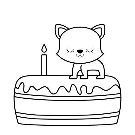 cute cat animal in cake of birthday vector illustration design