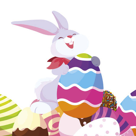 happy easter eggs painted with rabbit vector illustration design
