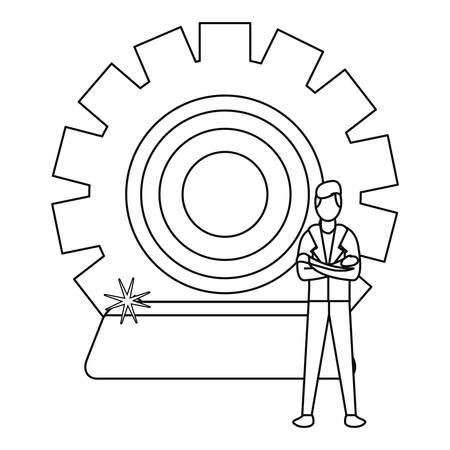 businessman with bank ingot gear bank vector illustration Vettoriali