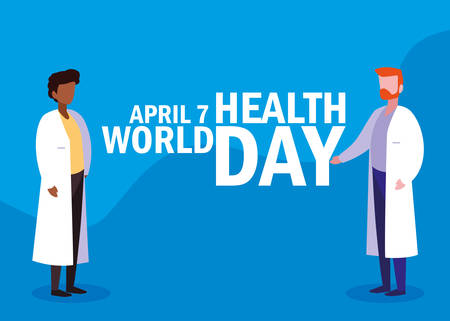 world health day card with doctors men vector illustration design Illustration