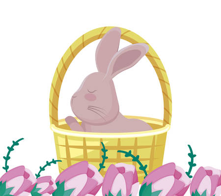 cute rabbit in basket wicker with flowers vector illustration design Illusztráció