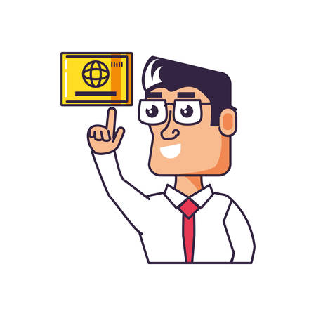 businessman with hand up and credit card vector illustration design