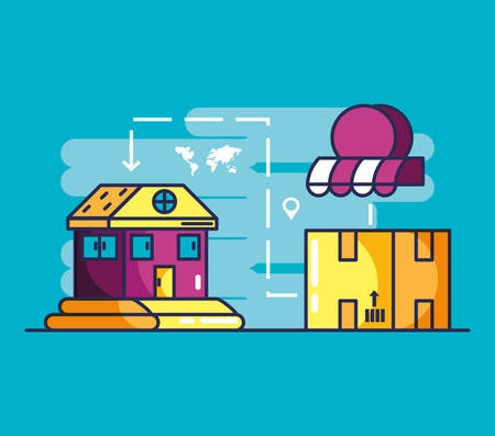 delivery service building and box vector illustration design Illustration