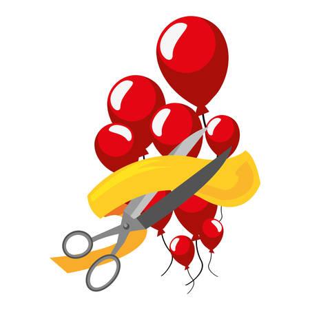 grand opening scissors balloons ribbon vector illustration 向量圖像