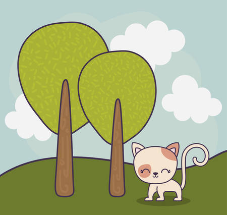 cute cat animal in landscape scene nature vector illustration design