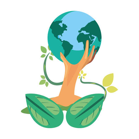 trunk tree world natural leaves earth day vector illustration
