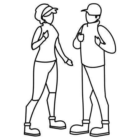 adventurous couple avatar character vector illustration design
