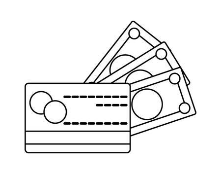 credit card with bills money isolated icon vector illustration design Illusztráció