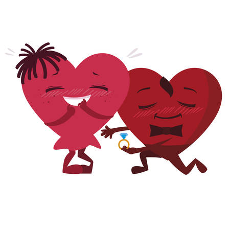 couple hearts with engagement ring kawaii characters vector illustration design