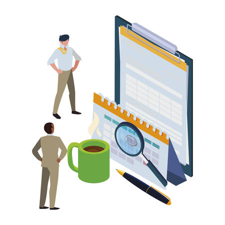 mini business people with clipboard and set office icons vector illustration design