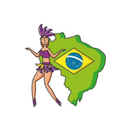 map of brazil with woman brazilian vector illustration design