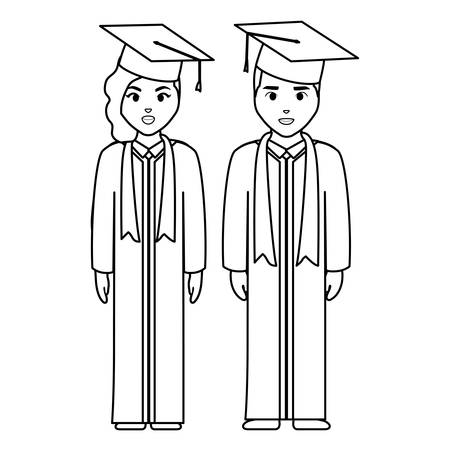 young students graduated diversity couple vector illustration design