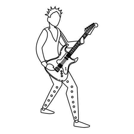 rocker man playing guitar electric character vector illustration design