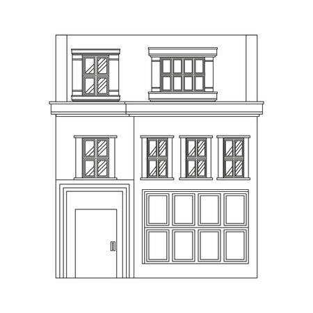 outline building house on white background vector illustration