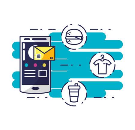 service de livraison avec smartphone et icônes vector illustration design