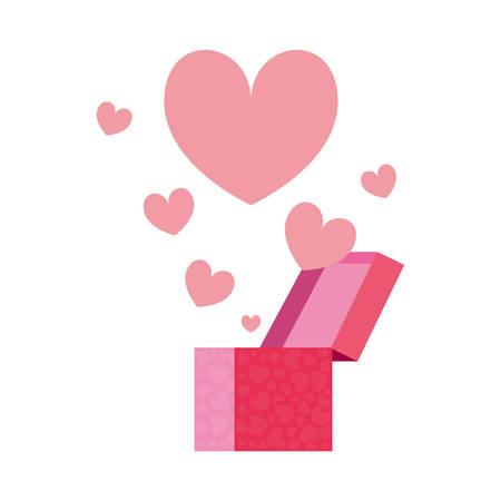 gift box flowers romantic vector illustration design image Illustration