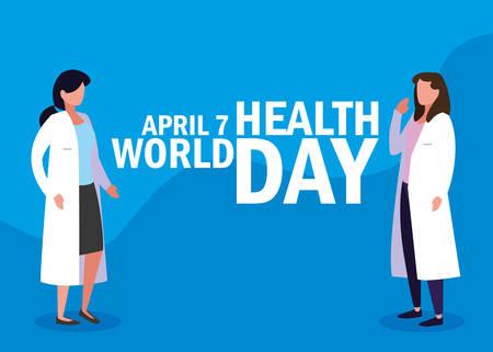 world health day card with doctors women vector illustration design Illustration