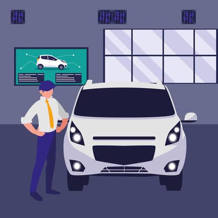 businessman with car in the workshop vector illustration design Illustration