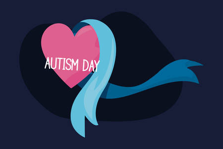 autism day campaign ribbon pink heart vector illustration