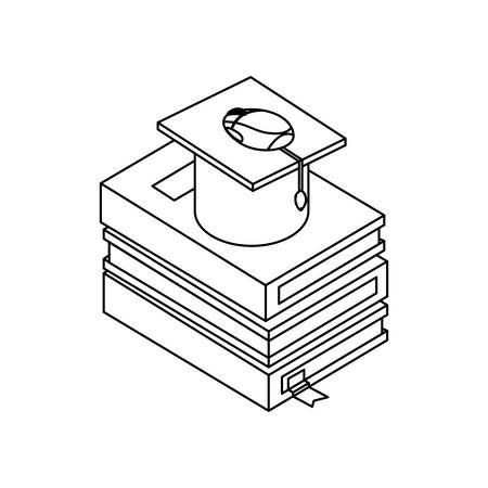 text books with graduation hat vector illustration design  イラスト・ベクター素材