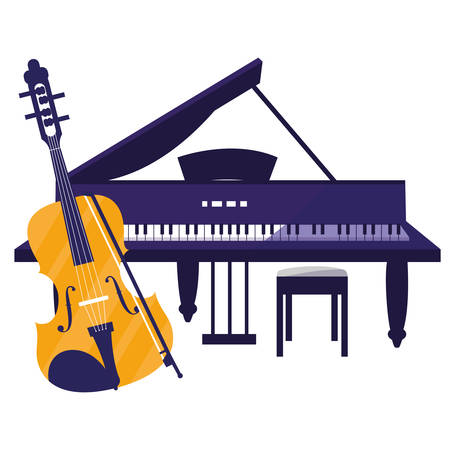 fiddle and grand piano instruments vector illustration design