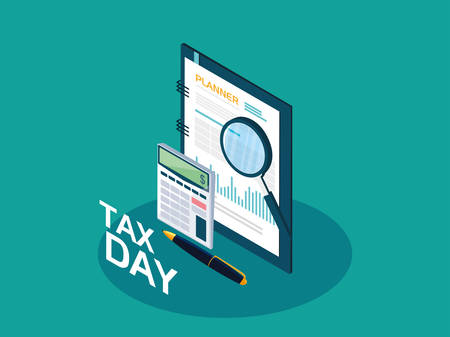 tax day with planner and business icons vector illustration design