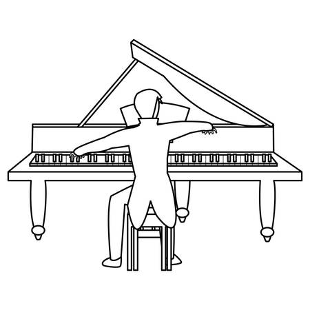 pianist playing piano character vector illustration design Stock Illustratie