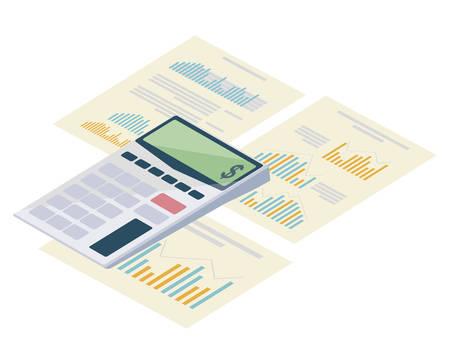 calculator math with statistics documents vector illustration design