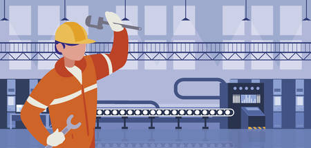 worker in factory workplace vector illustration design Illustration