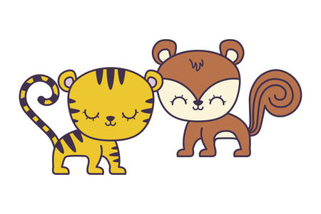 cute tiger with chipmunk animals isolated icon vector illustration design
