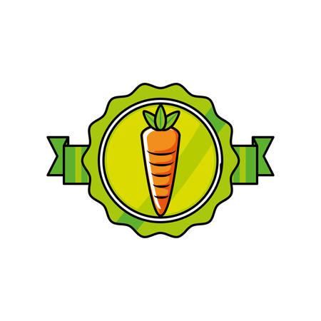 fresh carrot vegetable seal stamp vector illustration design