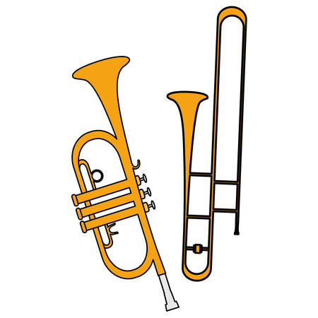 trumpets instruments musical icons vector illustration design Banque d'images - 123397536
