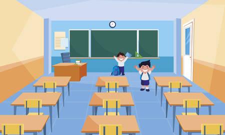 happy little schoolboys in the classroom vector illustration design
