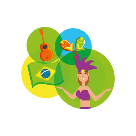 woman brazilian dancer with set icons vector illustration design